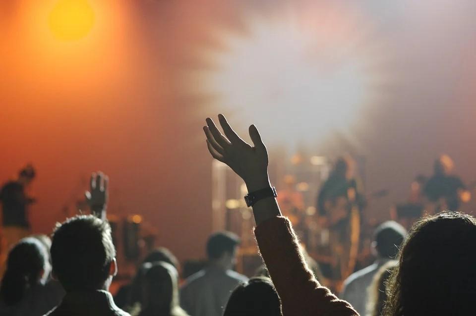 musicothérapie : groupe en concert avec public les mains levés